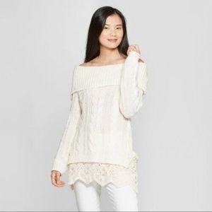 KNOX ROSE Ivory Off Shoulder Cowl Sweater XL